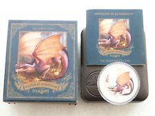 2014 Tuvalu criaturas míticas Dragón $1 un dólar de plata prueba Moneda Caja cert. de autenticidad