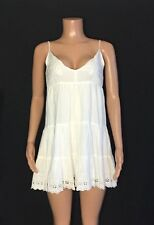 New Lulu's Womens Large  White Empire Waist Lace Trim Dress Embroidered Floral