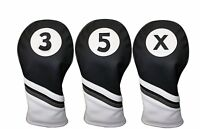 Majek Golf Headcover Black & White Leather Style 3 5 X Fairway Wood Head Covers