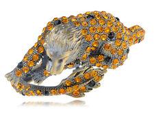 Retro Brass Lion Topaz Brown Amber Crystal Rhinestone Bangle Bracelet Jewelry