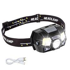 Linterna Frontal Linterna Recargable Con Usb, Sensor De Movimiento Ultra Bri...