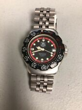 TAG HEUER VINTAGE WA1214 FORMULA 1 BLACK+RED DIAL + BEZEL STAINLESS STEEL WATCH