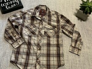 Old Navy Plaid Shirt, Snap Up Front.  Size M. Western, Long Sleeve. Brown Plaid.