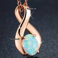 18K Rose Gold Infinity & Fire Opal Necklace Womens Birthday Gifts for Her J644