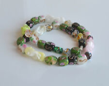 OOAK vintage Murano Glass Necklace Aventurin Wedding Cake Foil green pink black