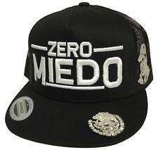 EL CHAPO GUZMAN ZERO MIEDO MEXICO LOGO FEDERAL 3 LOGOS HAT BLACK MESH ADJUSTABLE