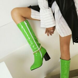 Chic Ladies Winter Knee High Boots Pointed Toe Block Mid Heels PU Leather Shoes