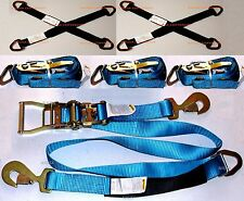 4 Sets Axle Straps Car Hauler Trailer Auto Tie Down Ratchet Straps Tow Kit BLUE