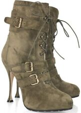 Brian Atwood NIKI Suede Military Buckled Platform High Heel Ankle Boots 38.5
