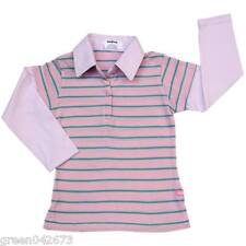 Girls Layered-Look Shirt with Collar Light Pink w/ Aqua Stripe # 5 Size 4 y/o