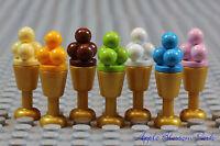NEW Lego Set/7 ICE CREAM SUNDAES -Minifig Dessert Food - Pink/Blue/Brown/Lime +