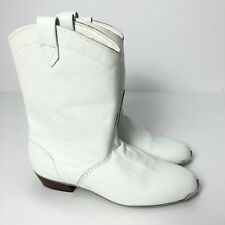 White Leather Cowboy Western Boots Women's Silver Toe Tips Size 6 M