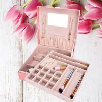 Pink Leather Jewellery Box Bracelet Ring Organizer Case Lock Mirror Women Gift