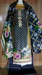 shalwar kameez pakistani indian ladies lawn summer suit 3 pice unstitched black