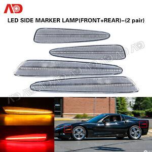For Chevrolet Corvette C6 2005-2013 LED Side Marker Light Clear Lens Front Rear