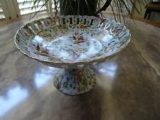 JAY & SONS DECORATIVE COLLECTOR BOWL ON PEDISAL: MULTIPLE BIRDS & FLOWERS PRINT