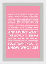 I Don't Want The World To See Me (Song Lyrics) - Pink - Framed & Mounted - A3 -