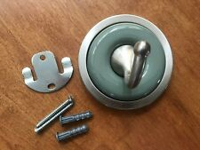 Robe Hook, Round Brushed Nickel with Sage Green Accent