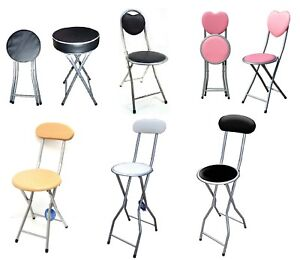 Folding Kids Chair Stool PVC Padded Seat Light Weight Kitchen Dinning Heart Back