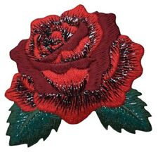 """Red Rose Applique Patch - Leaves, Flower Bud 2-5/8"""" (Iron on)"""