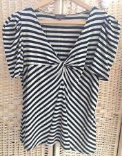 Phase Eight Size 14 Striped Knot Front Top Soft Jersey V-Neck Beige Black Stripe
