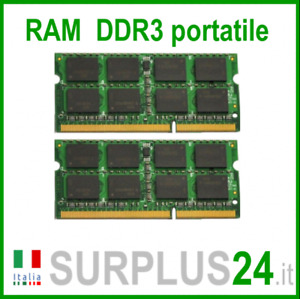 KIT RAM 4GB(2x2GB) DDR3 LAPTOP PC3-12800S 1600Mhz SODIMM Notebook NoEcc