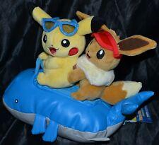"12"" Pikachu & Eevee Let's Go Summer Days Plush Official Pokemon Center Doll Toys"