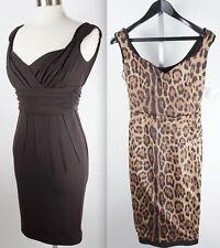 New Dolce&Gabbana sz 42 / US 6 mainline brown dress leopard lined $3995