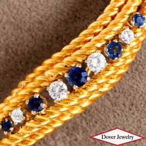 Tiffany & Co. Vintage Diamond Sapphire 18K Gold Elegant Rope Pin 11.5 Grams NR