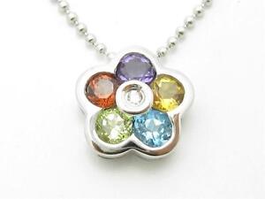 14kt White Gold Genuine White Diamond Sapphire Flower Design Halo Drop Necklace
