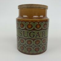 Vintage Hornsea Pottery Bronte Mid-Century Large Storage Jar Labelled Sugar VGC