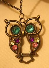 Lovely Openwork Brasstone Wise Old Hoot Owl Colorful Rhinestone Pendant Necklace