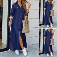 ZANZEA Womens Long Sleeve Collared Button Down Denim Maxi Shirt Dress Plus Size