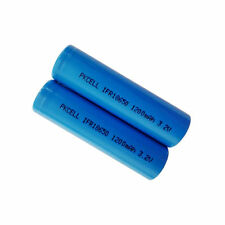 2x LiFePo4 Battery IFR 18650 1200mAh 3.2V Rechargeable battery Flat Top PKCELL