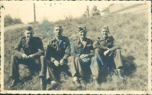 WW2 British Prisoners Of War POW's sat On Grass  Stalag XXI D Poland