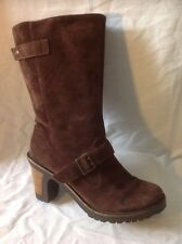 Kickers Brown Mid Calf Suede Boots Size 39