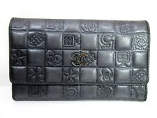 Authentic CHANEL Icon Bifold Long Wallet Black Leather CC Coco Mark 49665