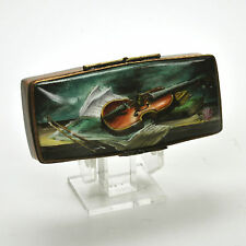 Limoges Stamp Dispenser Box STILL LIFE WITH A VIOLIN AND MUSIC SCORES  23