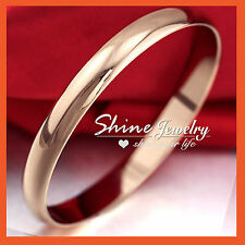 18K ROSE GOLD FILLED PLAIN COMFORT BAND SOLID LADIES ROUND GOLF BANGLE GIFT 70MM