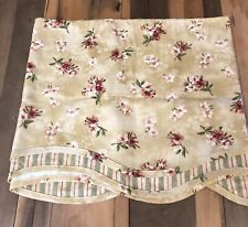 Waverly Fontanelle Antique Gold Floral Stripe Fairfield Scalloped Window Valance