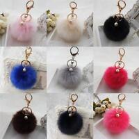 Women Rabbit Fur Ball Keychain Car Key Ring Plush Pendant For Bag Charm Gift P