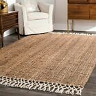 nuLOOM Hand Made Natural Jute and Wool Blend Area Rug with Fringe in Tan