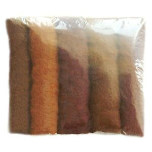 Natural Roving 100% Wool needle/wet Felting Shade Pack Brown Tones 5+Colours 50g