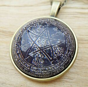 Pentagram Wicca Wiccan Pagan Cabochon Glass Antique Style Pendant Necklace NEW