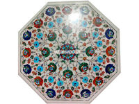 """20"""" White Marble Coffee Table Top Marquetry Multi Gemstone Inlay Art Decor H3034"""