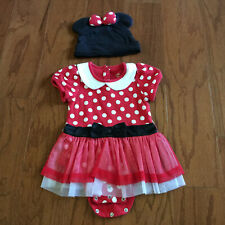 Disney Store Red Minnie Mouse Dress Costume Ears Bow Hat Polka Dot 18-24 M