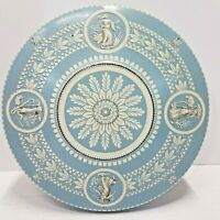 Vintage Blue TIN Greco-Roman Plant And Maiden Designs With Lid
