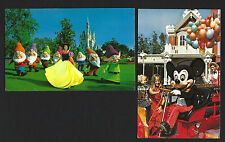 Walt Disney World Productions Mickey Firemouse + Snow White. Set 2 vtg posctards