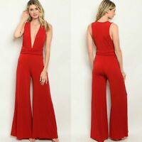 Red Plunging Neckline Wide Jumpsuit Romper