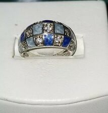 Ross Simons Diamonique DQCZ Blue Enamel checkerboard Sterling silver ring